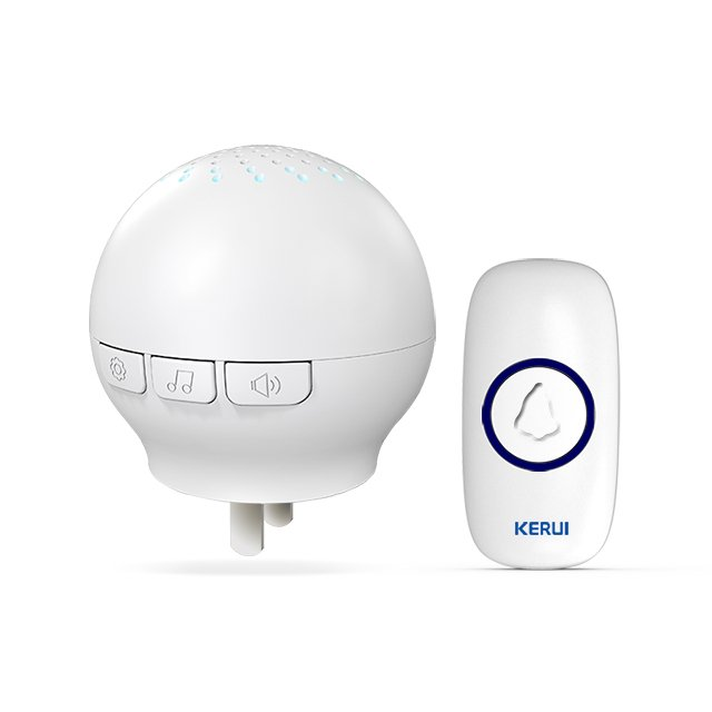 Kerui M522 Wireless Doorbell with F55 Push Button, Operating at over 500 Feet with 32 Chimes, 4 Volume Levels, LED Indicator, 1 Plugin Receiver & 1 Push Button