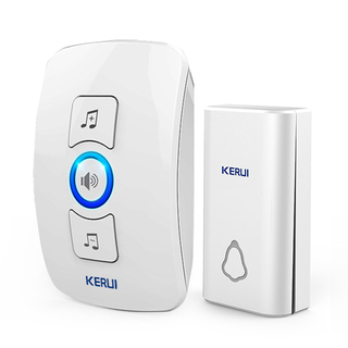 Kerui M656 Wireless Doorbell with F561 Push Button, Operating at over 650 Feet with 32 Chimes, 4 Volume Levels, 3 Working Modes, 1 Plugin Receiver & 1 Push Button